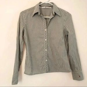 Tommy Hilfiger Green Gray Striped Button Down Sz 4